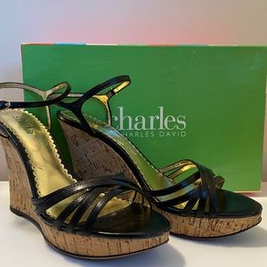 Charles David Dahlia black leather and cork wedge